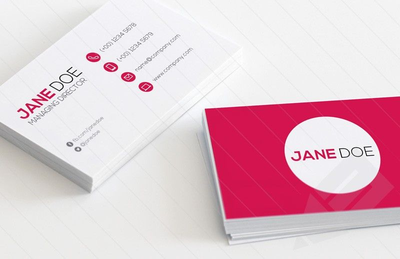 Qr code business card template vol 2 qr codes card templates and preview of front and back of qr code business card template in simplistic style with magenta colourmoves Gallery