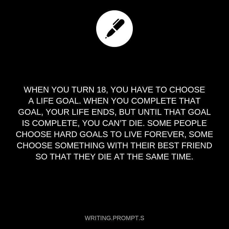 Instagram-Beitrag von Writing Prompts • Mär 2, 2019 um 3:57 UTC- what if ur life goal was to never die.  Or maybe to die #writingprompts Instagram-Beitrag von Writing Prompts • Mär 2, 2019 um 3:57 UTC- what if ur life goal was to never die.  Or maybe to die #lifegoals