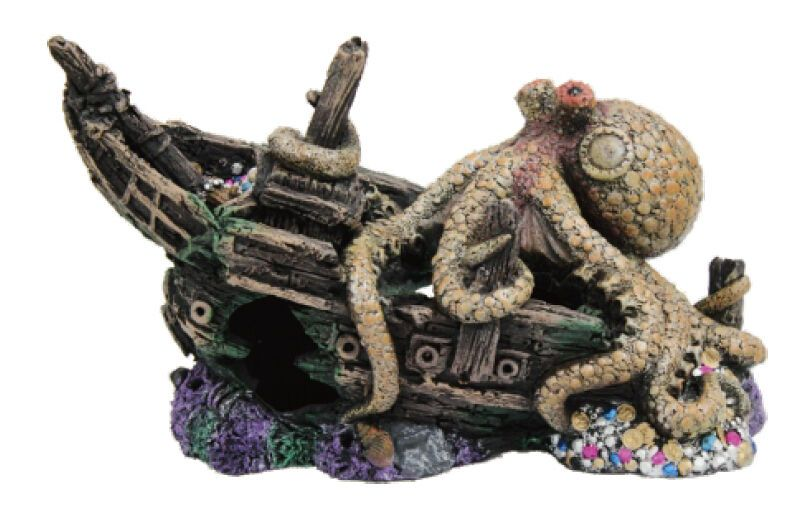 Sunken Pirate Ship W Giant Octopus Fish Tank Ornament Aquarium