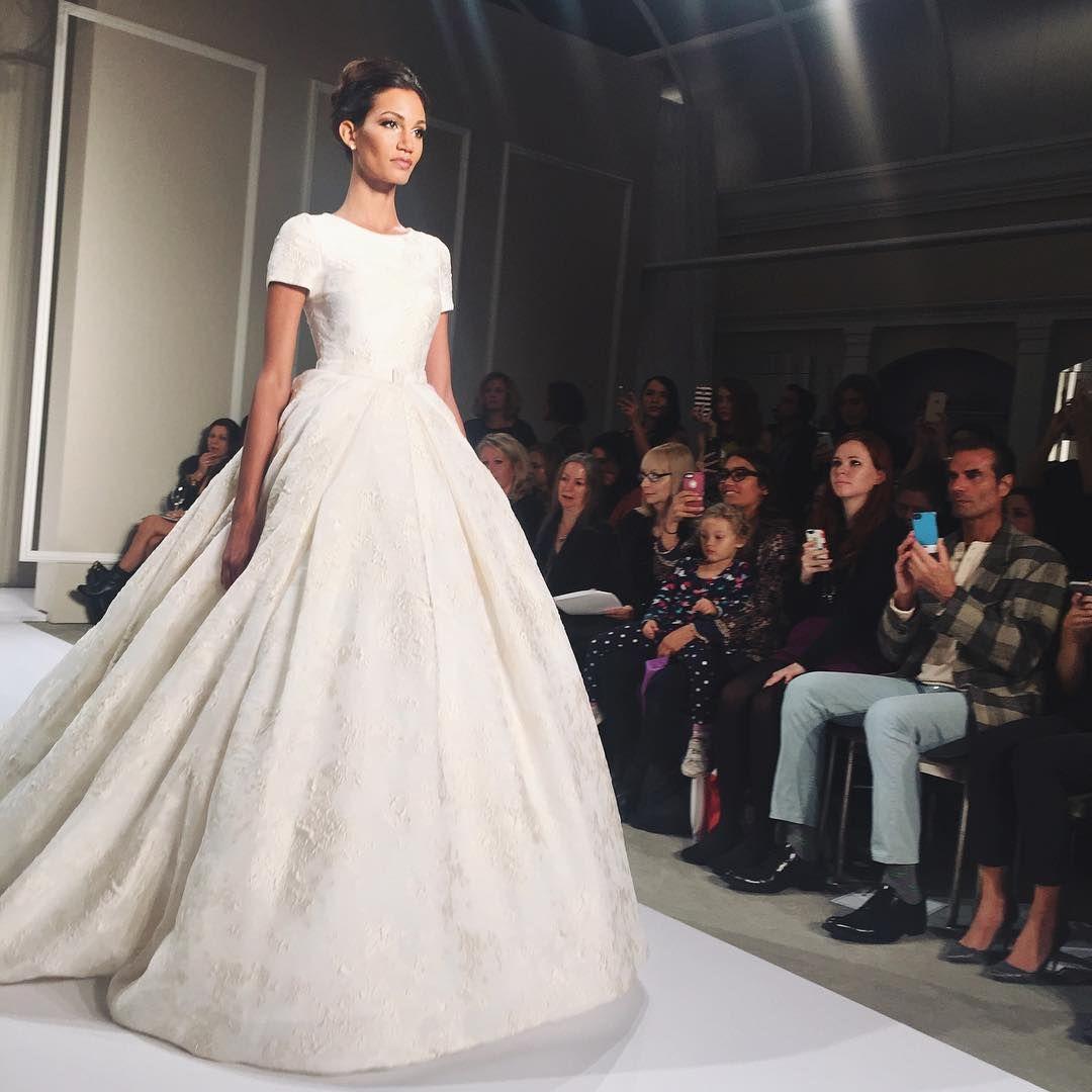 """""""Wow, we're head over heels in love with this @dennisbasso ballgown #weddingdress! #BridalFashionWeek  : @lisagooder #BridesFashionWeek"""""""