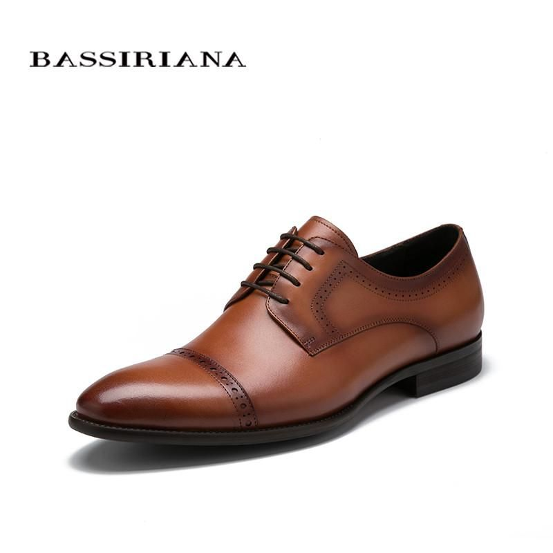 68d9e88614a1 BASSIRIANA 2017 Men shoes fashion Leather Shoes Men s Flats Lace-up Men  Shoes Genuine Leather High Quality