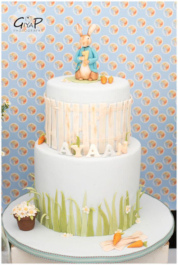 Peter Rabbit Garden 1st Birthday Party cake via Kara\'s Party Ideas ...