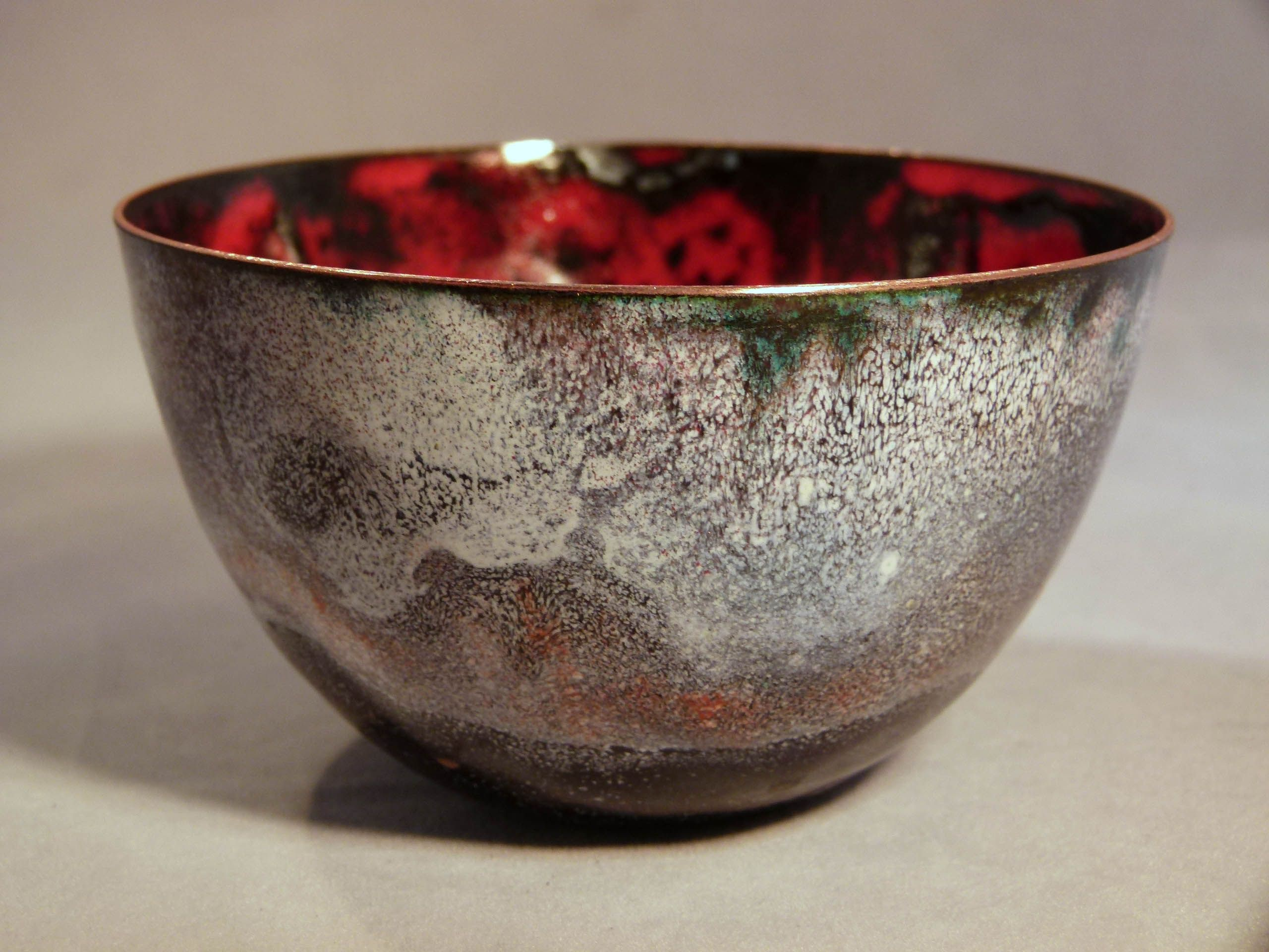 Red Black Inside Smoky Texture On Outside Enamel On Copper By Jackie Simmonds Enamel Bowl Ceramic Texture Copper Bowl