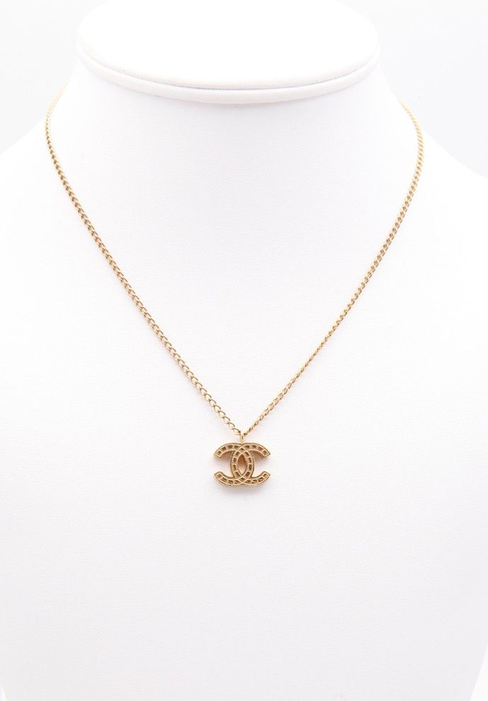 142a74be1aa2d Simple gold Chanel logo necklace available for sale w  PYRAMODE ...