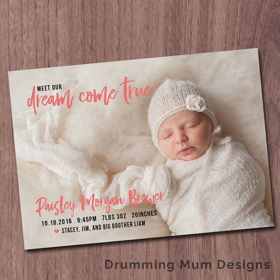 Modern birth announcement baby girl announcement baby boy modern birth announcement dream come true birth announcement baby boy birthday announcement baby bookmarktalkfo Choice Image