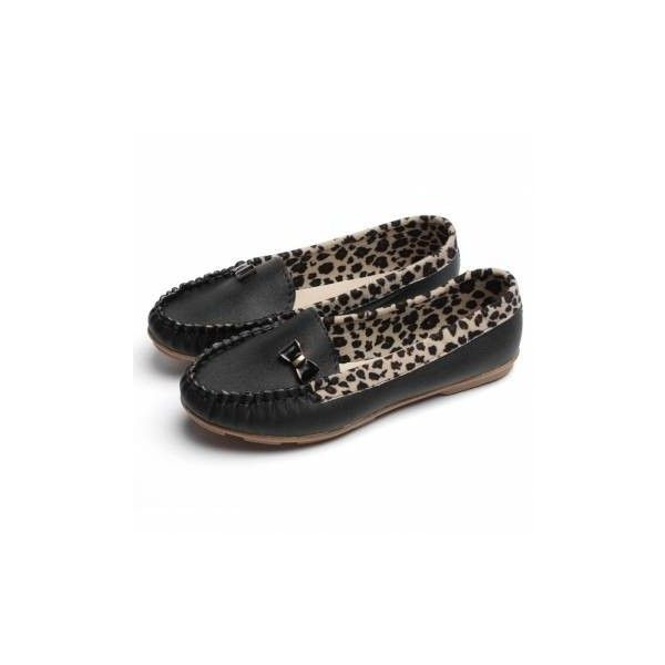 Casual Butterfly Knot Leopard Loafers Pu Flat Shoes (440 MKD) ❤ liked on Polyvore featuring shoes