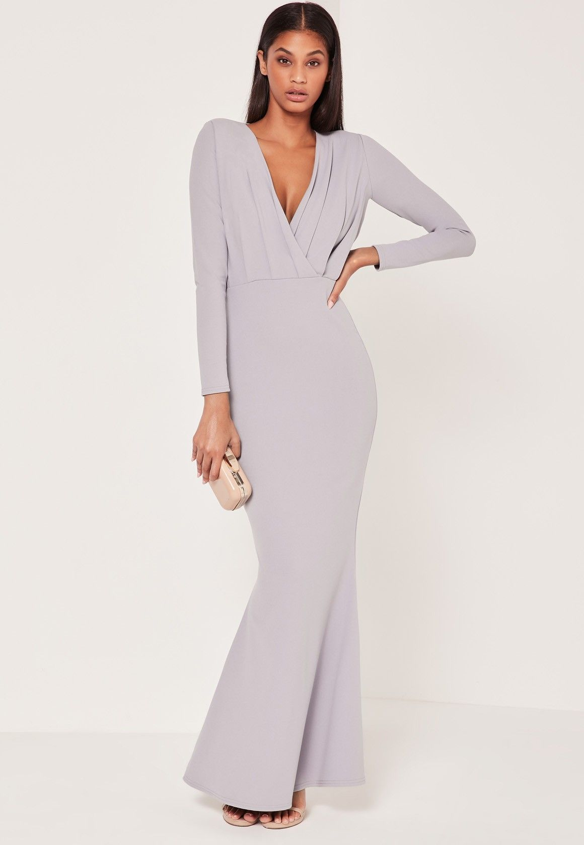 Missguided pleat plunge long sleeve fishtail maxi grey