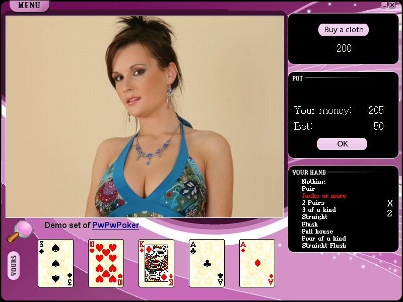Pwetpwet Strip Poker Is A Classic Video Poker With Erotic Pictures You Can Buy More Clothes If You Win With Usual Poker Rules The Software Itself Offers