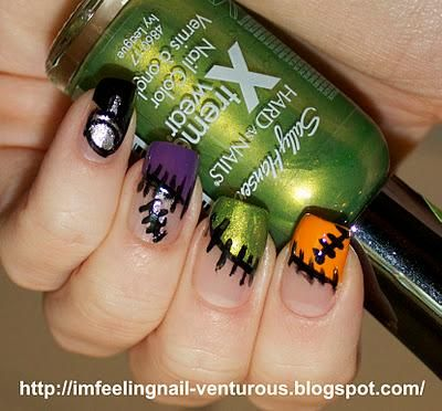 Diy Halloween Nails Diy Halloween Nail Art Funky Frankenstein