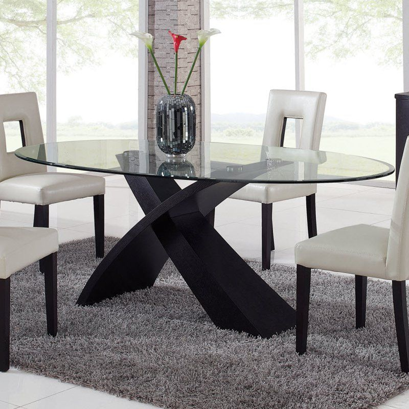 Charming Global Furniture Exclaim Oval Glass Dining Table   The Stylized, X Shaped  Base On