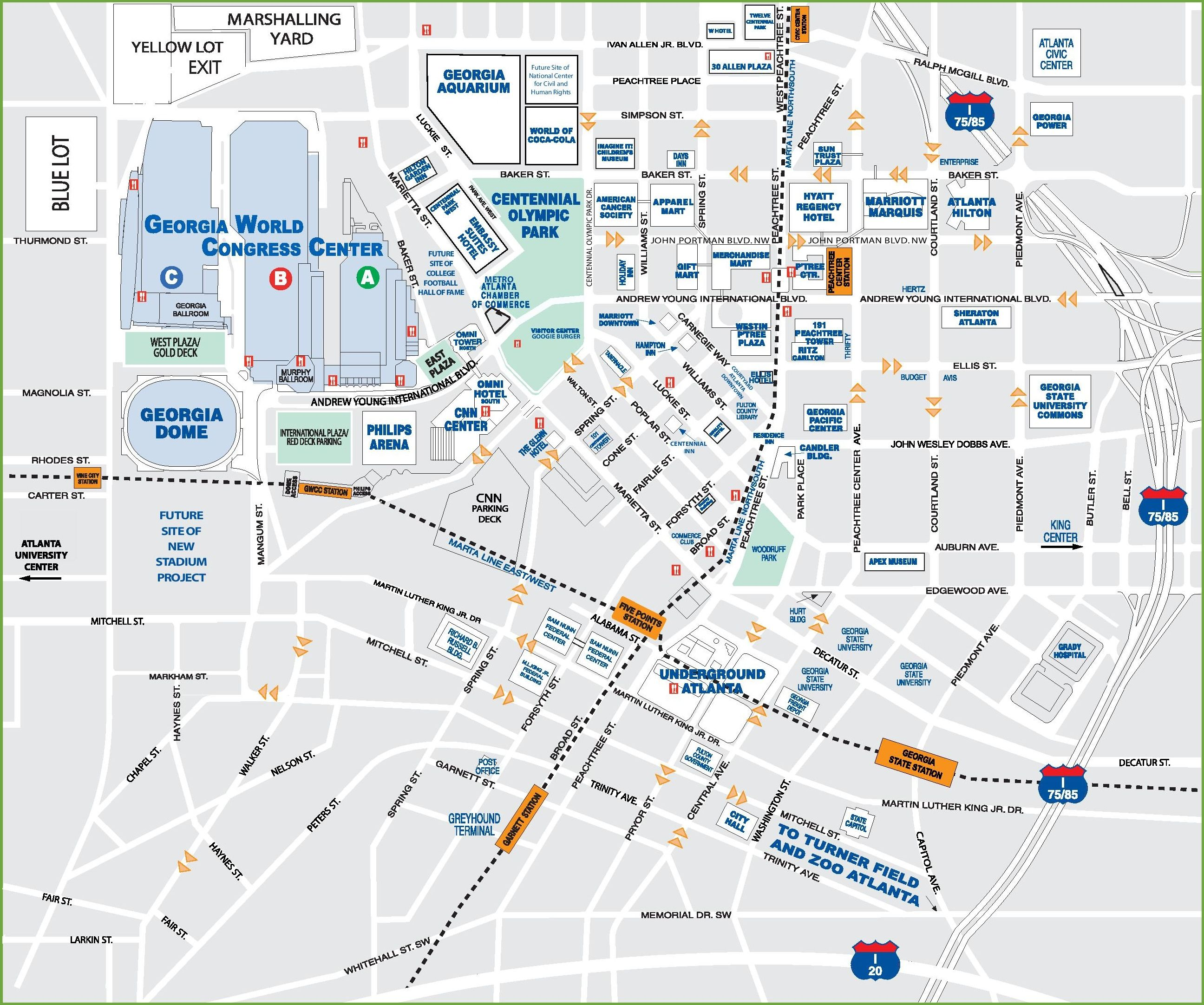 Downtown Atlanta tourist map | Atlanta | Tourist map ... on gila river arena map, amicalola falls georgia map, heinz field map, tokyo dome city map, mapquest georgia map, edward jones dome map, superdome map, world of coke map, covington georgia map, target center map, terminus georgia map, tacoma dome parking lot map, cobb county georgia map, georgia state university map, carrier dome map, the palace of auburn hills map, north georgia premium outlets map, royal farms arena map, plains georgia map, georgia tech map,