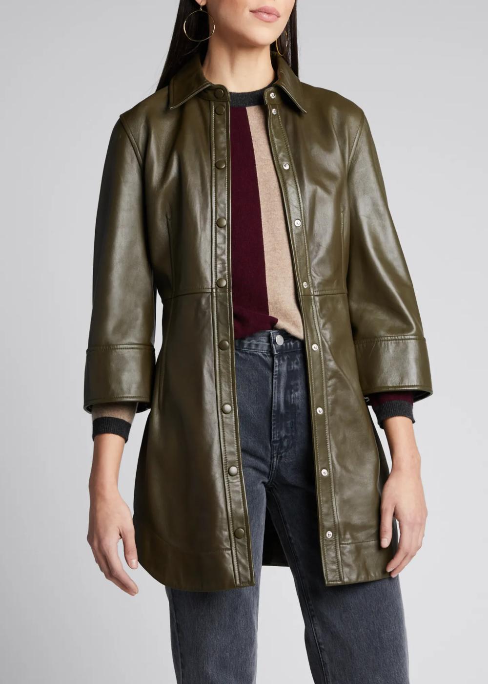 Ganni Lamb Leather Snap Front Dress Shirt Tail Hem Ganni Dress Tops Designs [ 1400 x 1000 Pixel ]