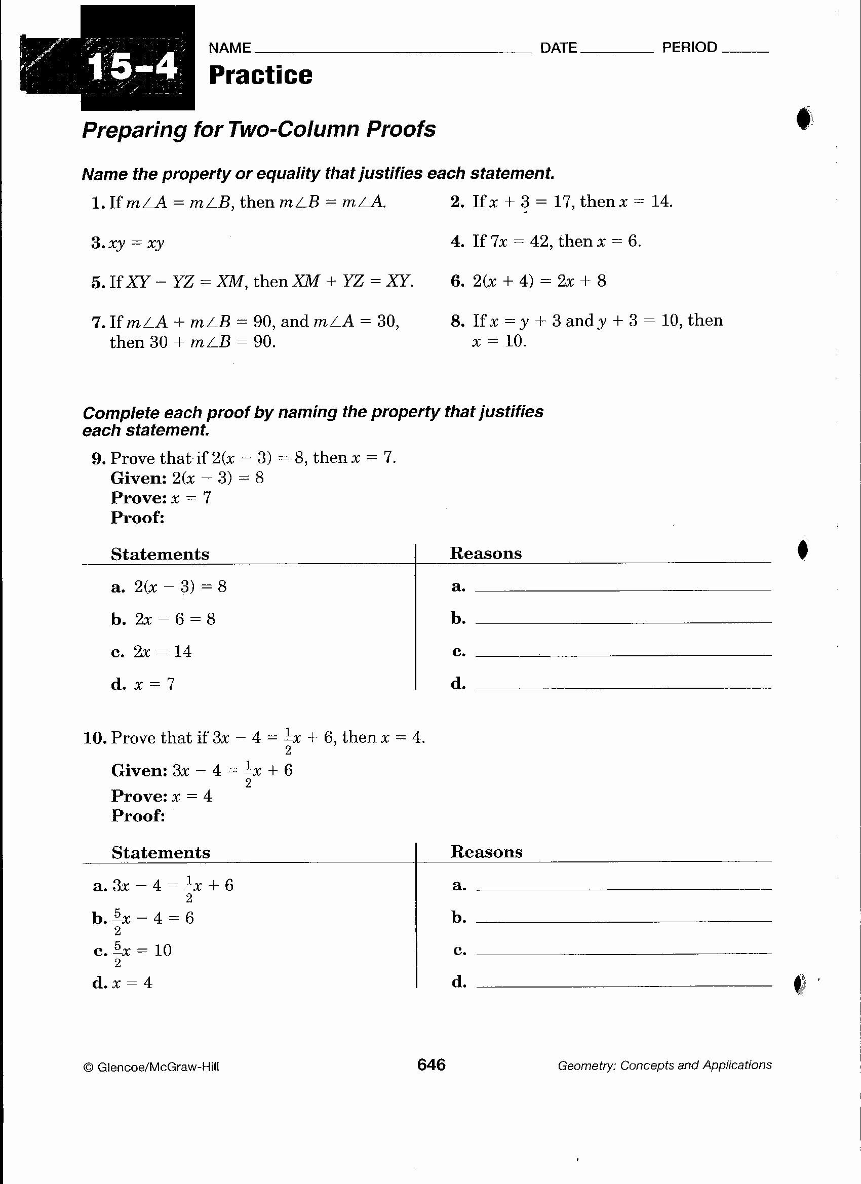 Geometric Proofs Worksheet With Answers Best Of Geometric Proofs Worksheet Chessmuseum Template Library In 2020 Geometry Proofs Geometry Worksheets Teaching Geometry