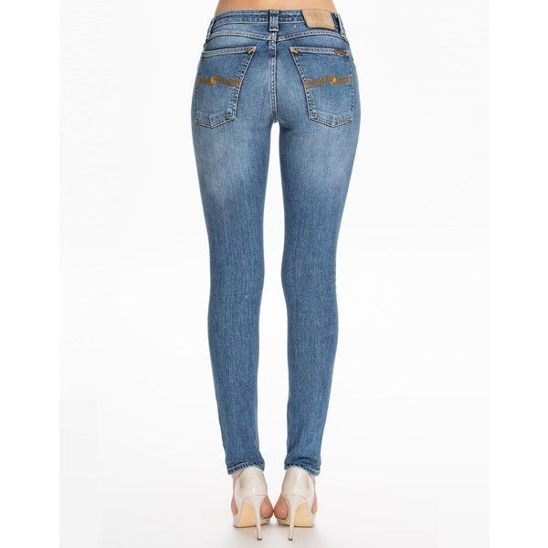 Nudie Jeans Skinny Lin Easy Strikey ($93) ❤ liked on Polyvore featuring jeans, denim, womens-fashion, tall jeans, skinny leg jeans, skinny fit jeans, white super skinny jeans and skinny jeans