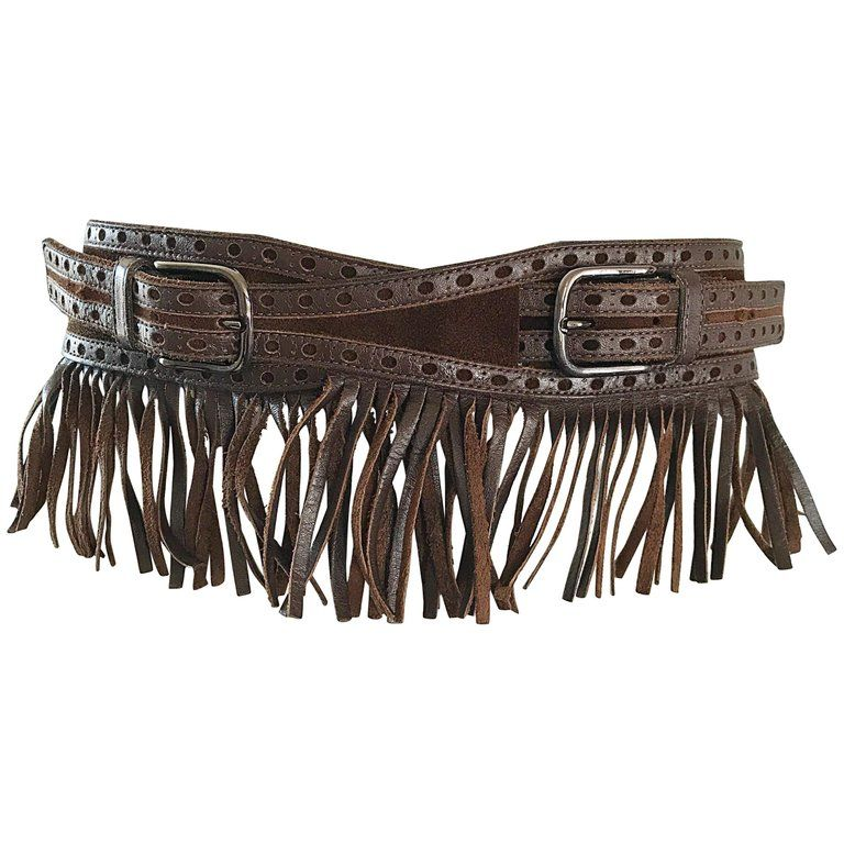 1970s Yves Saint Laurent Brown Leather + Suede Fringe Vintage 70s Boho Belt YSL