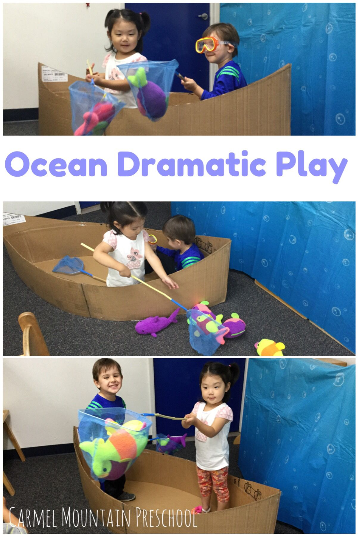 Create A Boat Using Cardboard And Add Soft Fish And A Few