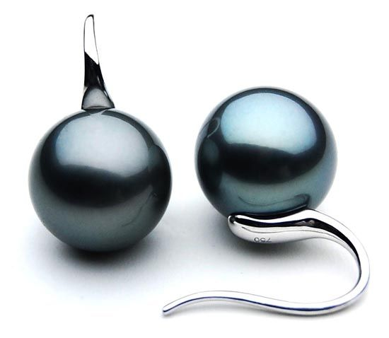 Price Tracker And History Of Hj 00603 Aaa Natural Tahitian South Sea Black Pearl Earrings