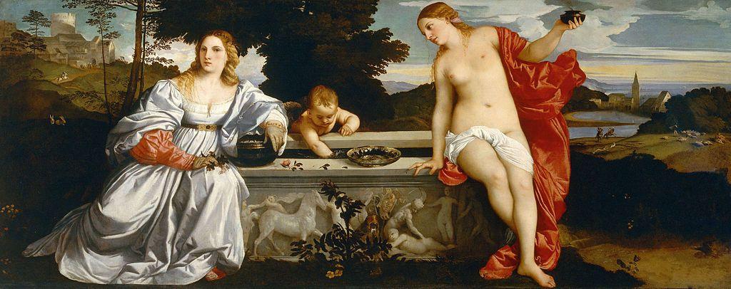 Tiziano Vecellio, Amor sacro e Amor profano, 1515 ca., olio su ...