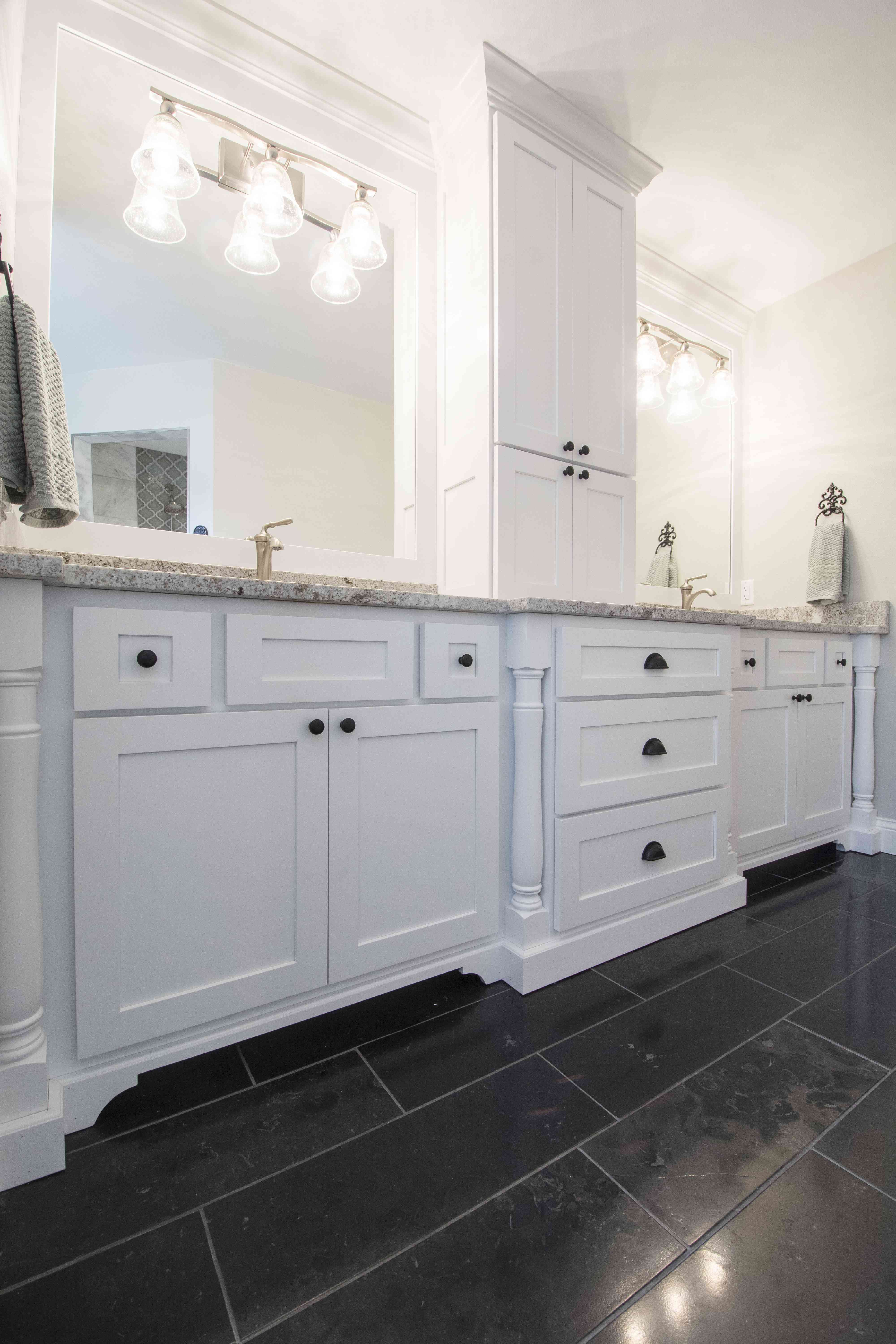 Master Bath With Double Vanities White Shaker Cabinets With Turned Post Legs Tall T White Shaker Cabinets Bathroom Inspiration Modern Marble Bathroom Designs