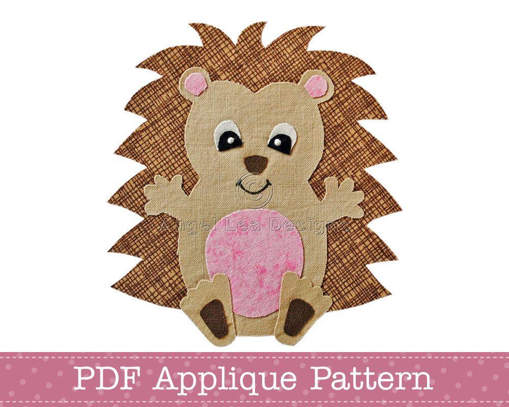 Hedgehog Applique Template PDF Baby Hedgehog Applique Pattern ...