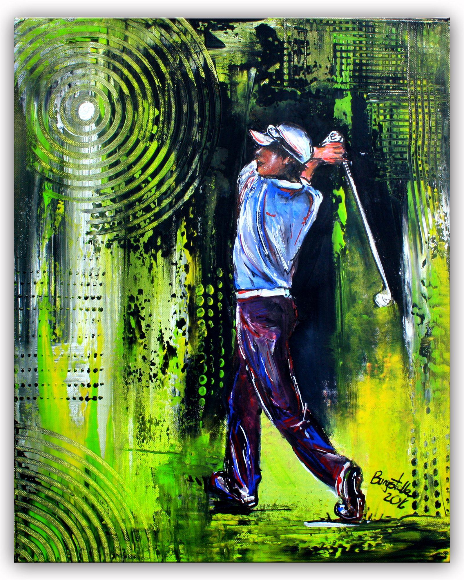 golfspieler golfer abschlag gem lde malerei kunst bilder acrylbilder kaufen w. Black Bedroom Furniture Sets. Home Design Ideas