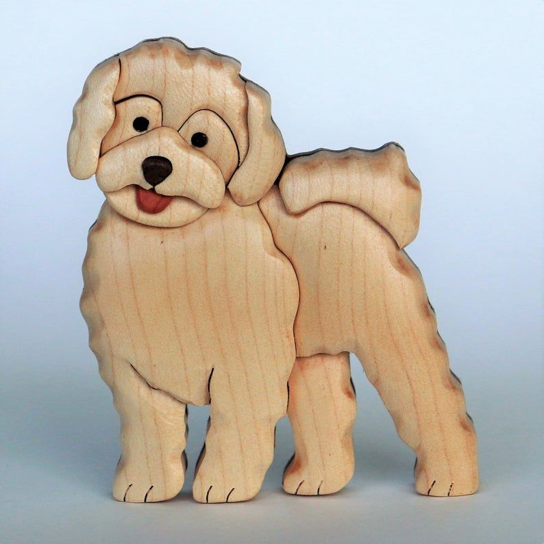 Beautifully hand crafted 3 dimensional Intarsia Wood Art BOXER Dog Puzzle Wooden Box