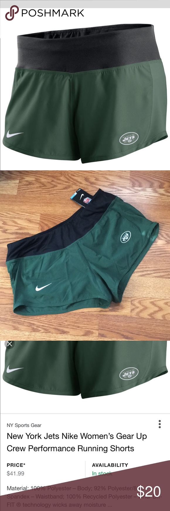78a4e990 🏈 NWT Nike Dri Fit NY jets Shorts New with Tags. Nike Official NFL ...