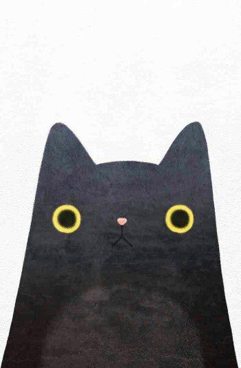 Line Deco Black Cat Wallpaper Cute Wallpaper Iphone Wallpaper