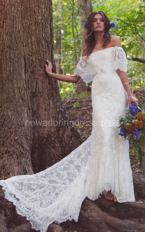 8c865c50a9ba Boho Off-Shoulder Sheath Scalloped Lace Wedding Dress With Long Train