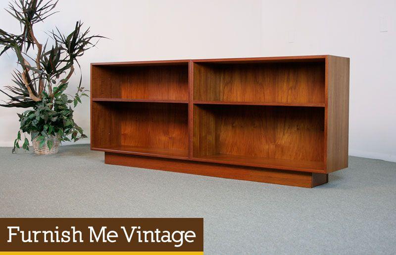 Vintage Danish Modern Teak Low Bookcase Mid Century Modern
