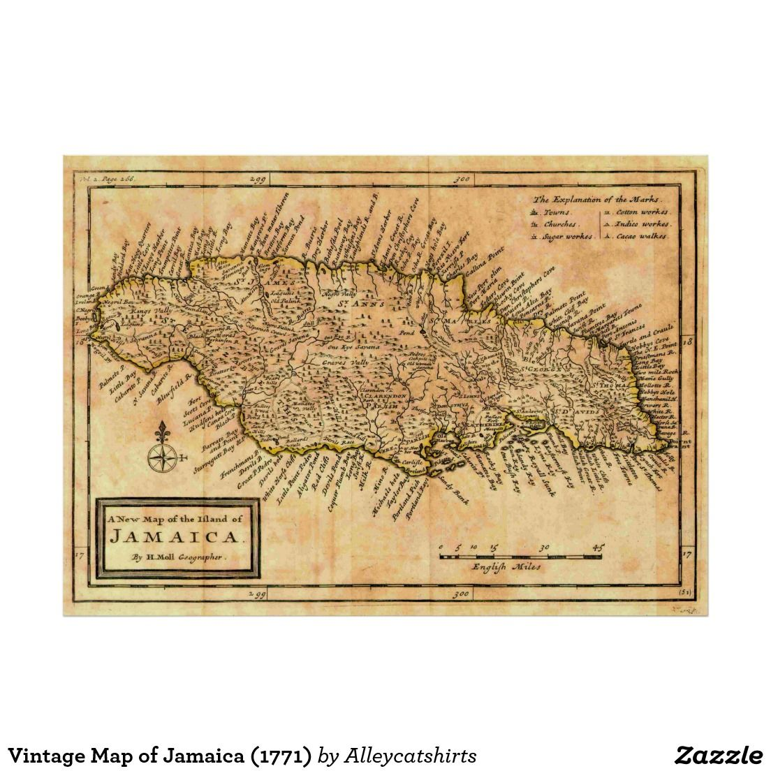 Vintage Map Of Jamaica Poster Vintage Map Posters - Vintage map of jamaica