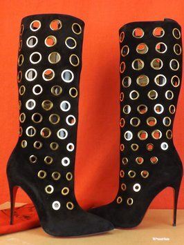 quality design 47754 14c4f Black/Gold Apollo 100 Suede Eyelets Embellished Boots ...