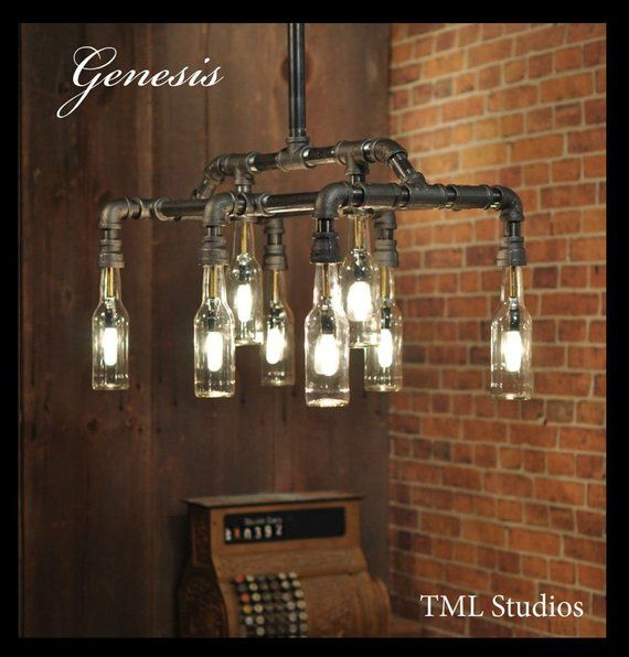 Photo of Genesis – Steampunk Industrial beer bottle luminaire lamp – with recycled and Repurposed Gas plumbing pipe