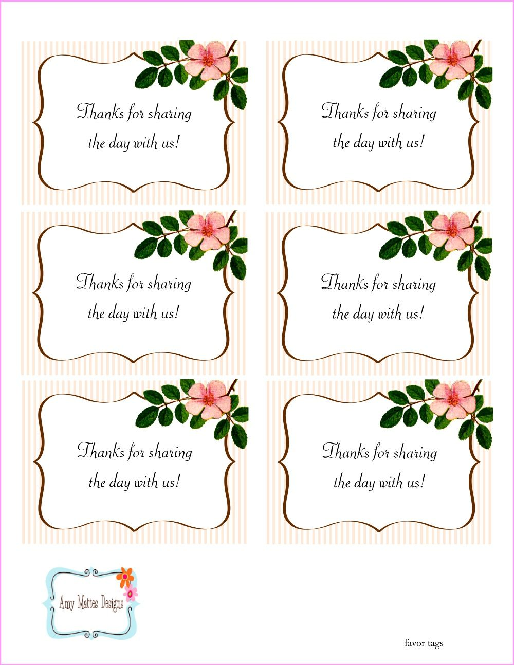 The Beautiful Wedding Favor Tags as our identity: free printable ...