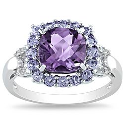 Miadora Sterling Silver Amethyst, Tanzanite and Diamond Accent Ring. My living room inspiration.