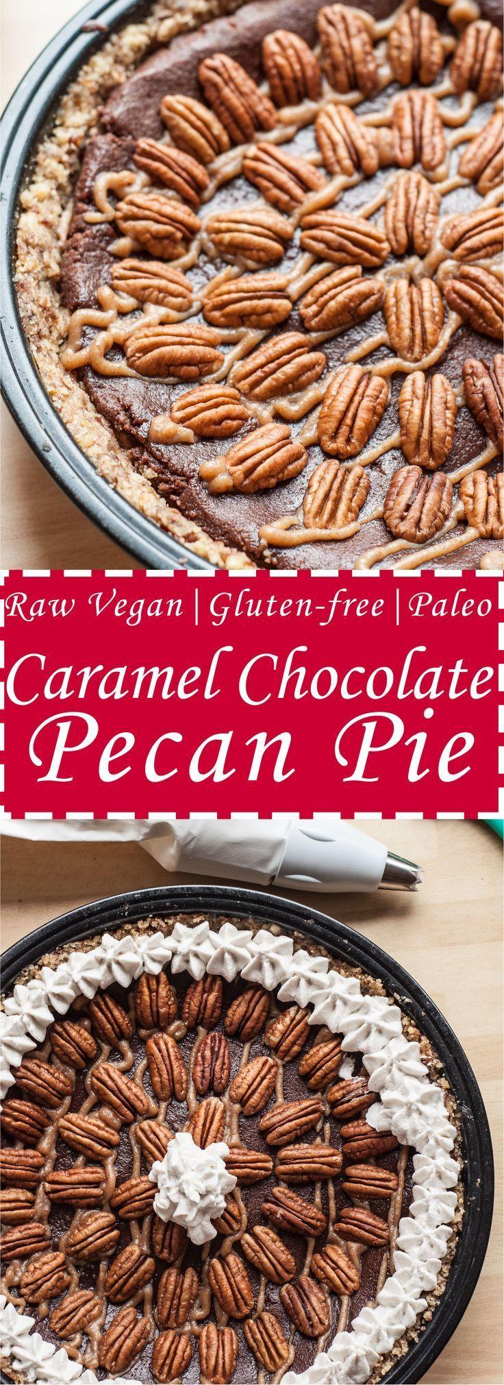 Chocolate Caramel Pecan Pie (V,GF,P) - Vegan Family Recipes Caramel Chocolate Pecan Pie Recipe w/ w