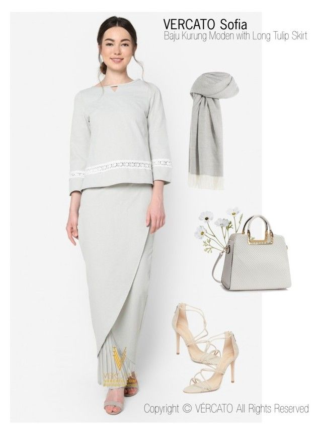 """Baju Kurung Moden 2017/2018"" by vercato on Polyvore featuring Baju Kurung Moden with Long Tulip Skirt - Vercato Sofia in Grey"