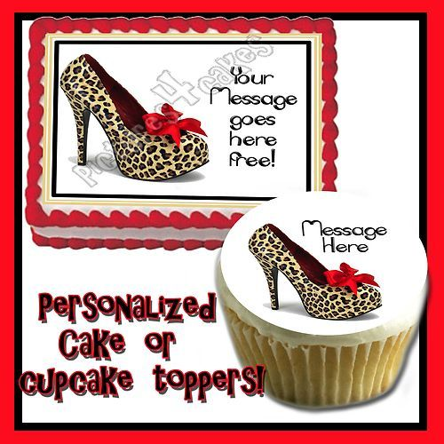 High Heel Edible Cake Topper Birthday Cheetah Leopard Skin