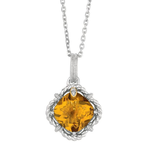"""Phillip Gavriel Whisky Quartz and .01ct Diamond Pendant 18"""" Chain  A New Generation of Rock Candy ITEM#  SILP6093 $159.00 WAS   ($319.00)"""