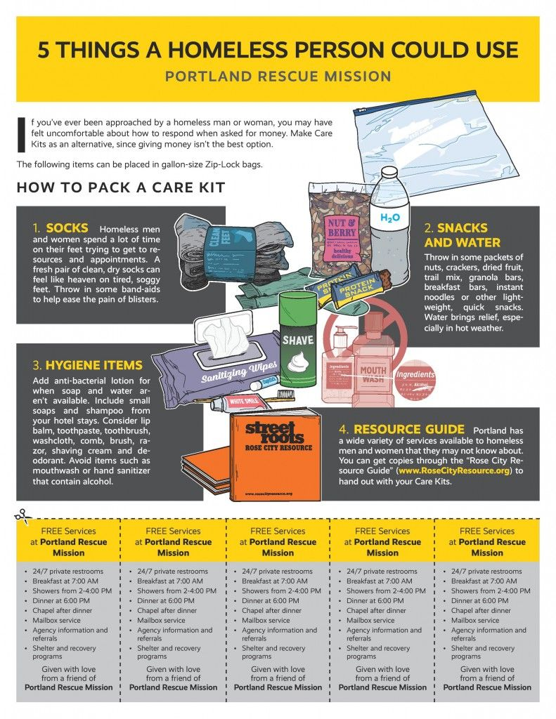 Pack a care kit homeless care package blessing bags