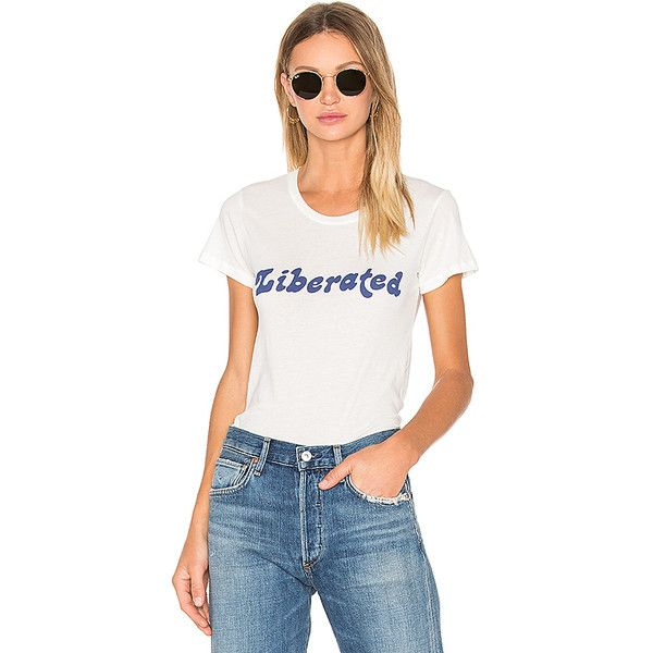Clayton x REVOLVE Liberated Basic Tee ($39) ❤ liked on Polyvore featuring tops, t-shirts, graphic tees, basic tees, white cotton tee, print t shirts, white graphic tees and graphic print t shirts