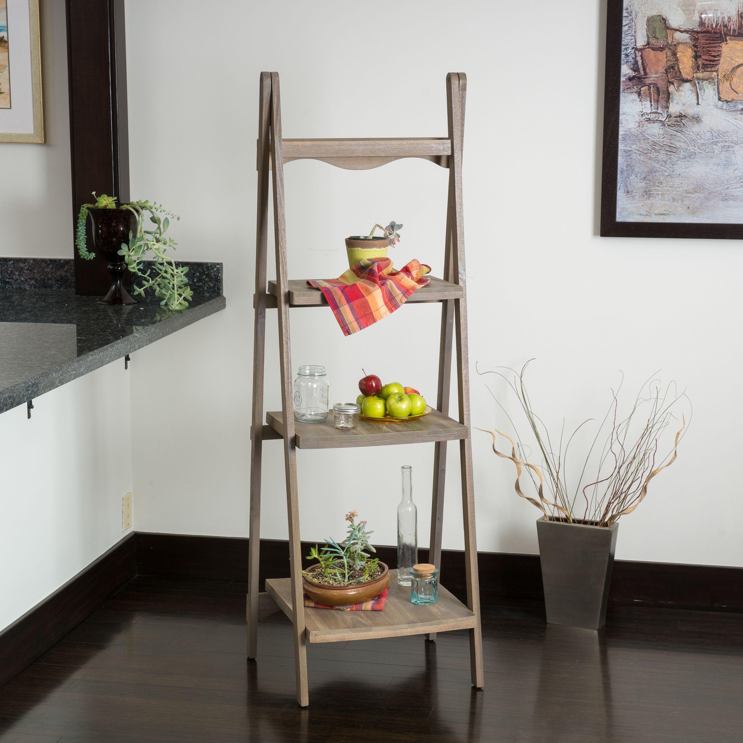 The mabel wood ladder shelf exudes soft vintage inspired elements