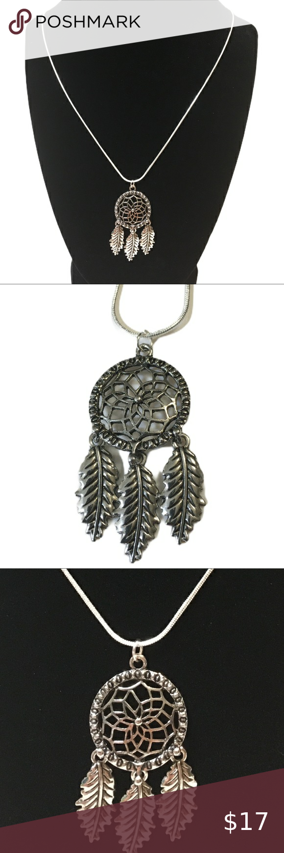 Necklace-Dream Catcher, 925 Sterling Silver Chain Necklace-Dream Catcher Feather, 925 Sterling Silver Chain.  Pendant approx 1.5 inches tall, 1 in wide.  Pair this with the Silver Dream Catcher Earrings available in my closet.  Make a bundle, then make an offer!  Have a wonderful day!! Trendy Designs Jewelry Necklaces