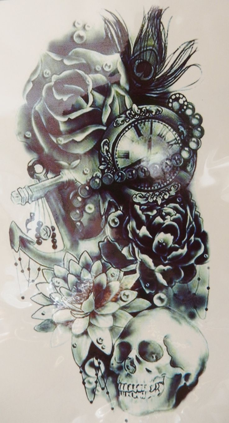 Clock forearm black rose sleeve tattoo - About Black Rose Tattoos On Pinterest Shaded Tattoos Black Tattoos