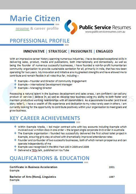 Resume Examples For Public Service