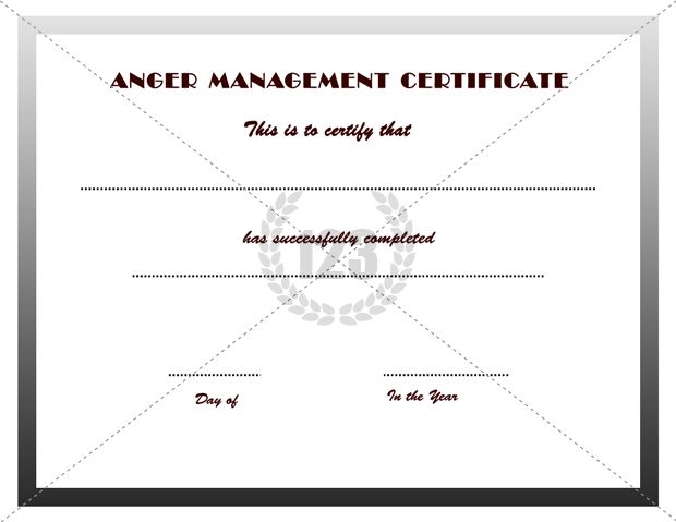 Good Anger Management Certificates Download