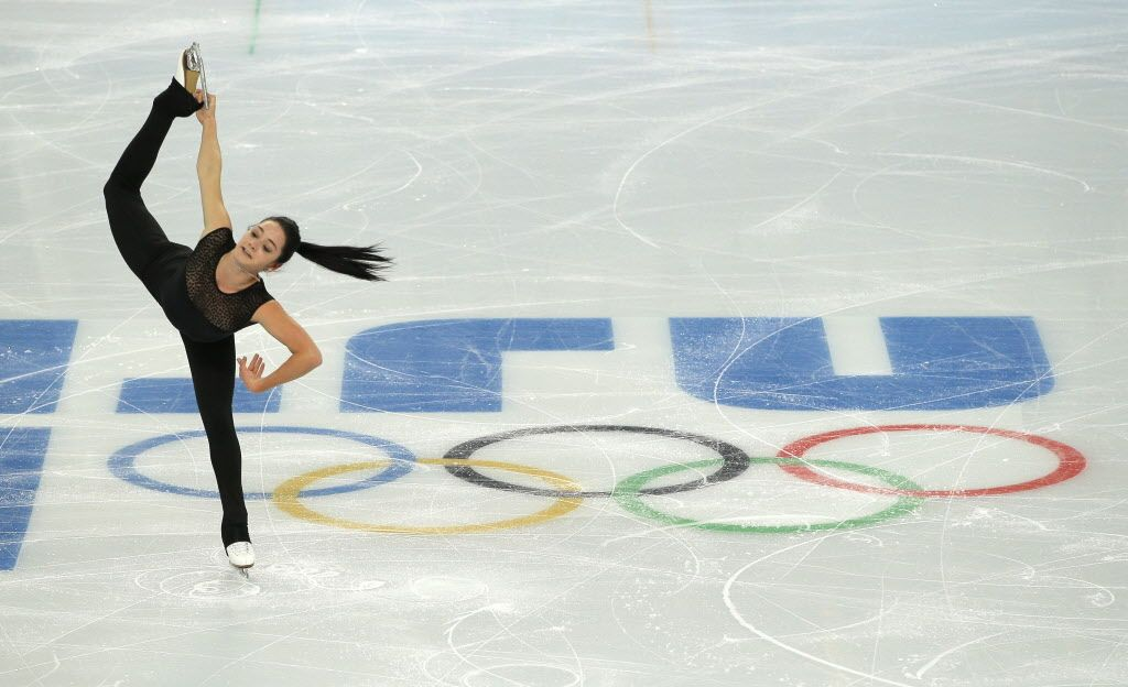 Kaetlyn Osmond of Canada practices during a figure skating practice session at the Iceberg Skating Palace ahead of the 2014 Winter Olympics,...