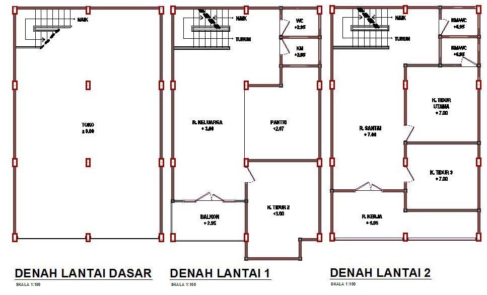 Contoh Denah Ruko 2 Lantai 2020 Denah Rumah Desain