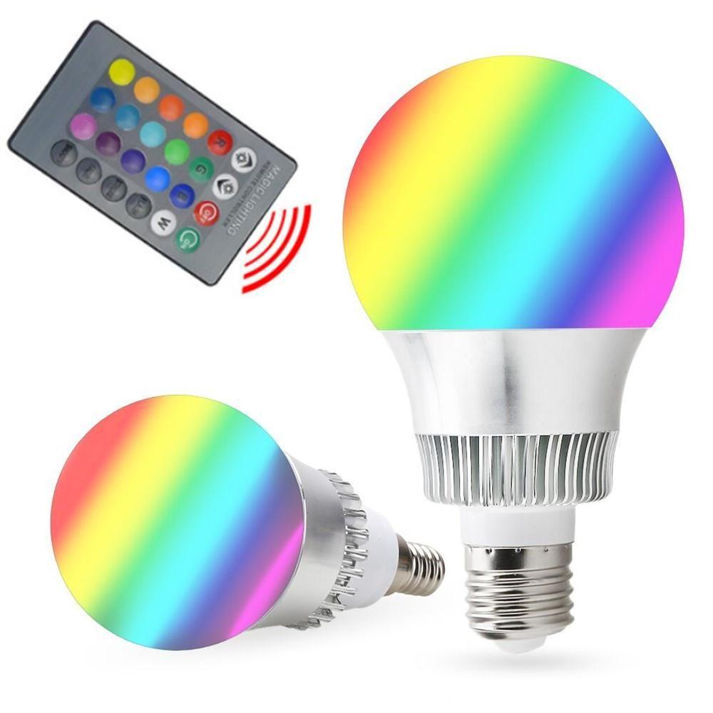Rgb E27 E14 5w 10w Ac85 265v Led Bulb Lamp With Remote Control