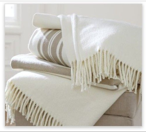 Pottery Barn French Stripe Fringed Throw Blanket